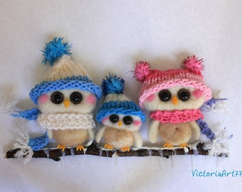 Needle Felted Owl Ornament Family of Three