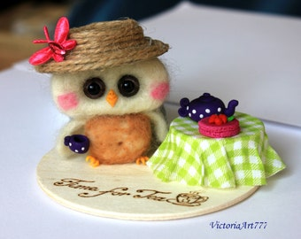 Needle Felted Owl Ornament  Time for Tea Owl
