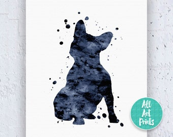 French Bulldog Print Frenchie Print French Bulldog Art French Bulldog Poster Black Art Print Watercolor Printable Instant Download Art