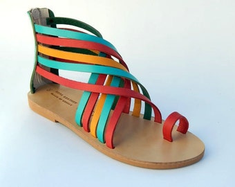 Greek Leather Sandals (40, 41 - Tricolor)