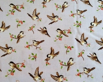 Forest frolics - Red Rooster fabric - Tiny Birds on Lt Blue w/red Berries  BTY or 1/2 yd - 100% Cotton 44/45""