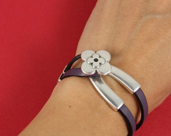 9/5 MADE in EUROPE zamak clasp with slider, zamak 5mm cord clasp, bracelet flower hook clasp (9136-0577)qty1set