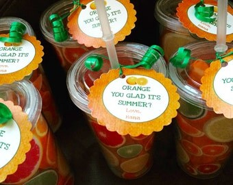 Summer party favors, Teacher Appreciation, orange, Last day of school, Personalized Teacher Gift, unique teacher, PTO, staff gifts, 12 ct.