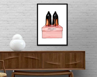 Jimmy Choo Shoes Print Modern Design Poster Watercolor Fashion Illustration wall art decor Various colors Best price canvas art