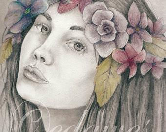 Flowers in her Hair 8x10 Art Print