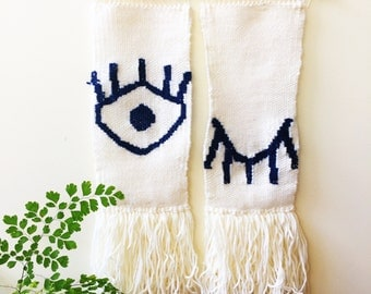 Woven wall hanging with winking eye design in cream & navy - made to order/ wall art/ home decor/ unique wall art/ navy/ cream