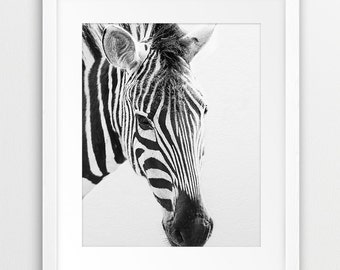 Zebra Print, Zebra Photography Black And White, Safari Animal, Modern Wall Art, Nursery Decor, Kids Room Wall Art, Home Decor, Printable Art
