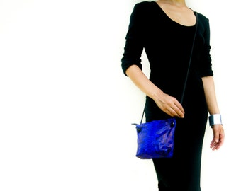 Small Python Leather Crossbody Bag,  Electric Blue  Leather Purse,  Party Bag,  Evening Bag