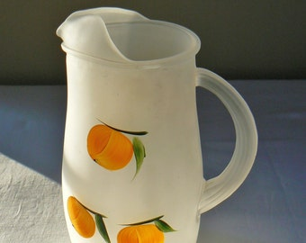 Vintage Federal Glass Water Pitcher, 1960's Juice Pitcher, Milk Pitcher, Mid Century Pitcher, Lemonade Pitcher, Retro Frosted Pitcher