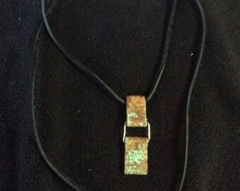 Copper Pendant Necklace with Verdigris Patina