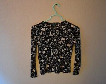 Ralph Lauren Black With White Floral Short Long Sleeved Shirt