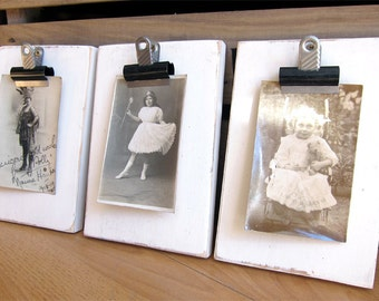 White Distressed Wooden Reclaimed Clip Photo Holder