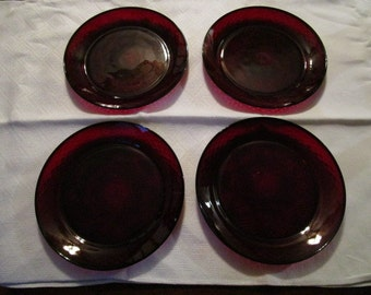 4 Gorgeous Vintage Ruby Red Luncheon Salad Plates 8""