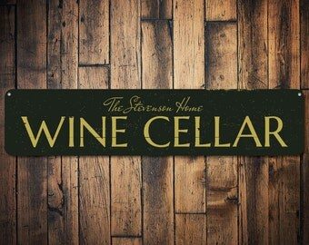 Wine Cellar Sign, Personalized Home Wine Decor, Custom Family Name Sign, Metal Home Bar Sign, Wine Lover Sign - Quality Aluminum ENS1001421