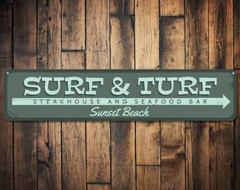 Surf & Turf Sign, Personalized Steakhouse Seafood Bar Sign, Arrow Beach Location Restaurant Sign, Beach Decor - Quality Aluminum ENS1001339