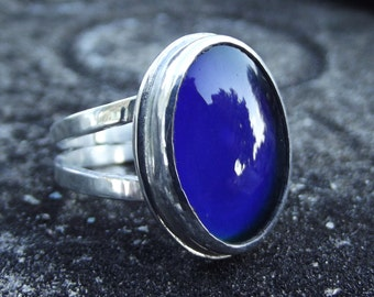 Sterling Silver Mood Ring with Glass Mood Stone