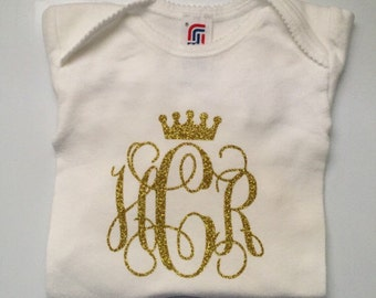 Custom monogram baby girl onesie