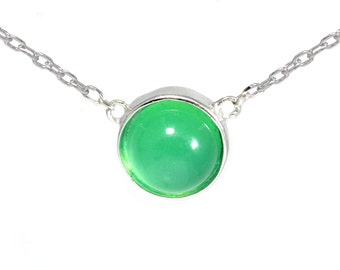 Delicate Green Chrysoprase Jade Chalcedony Coin Necklace in Sterling Silver 16'' - 18''