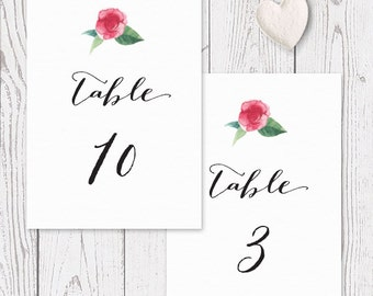 Floral Watercolour Rustic Wedding Table Numbers - Garden Wedding - Professionally Printed or DIY Printables - Australia