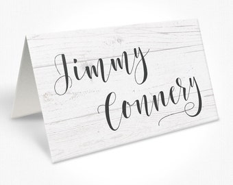 Modern Beach Timber Background Wedding Place Cards, Beautiful Script Font, Free Colour Changes, DEPOSIT | Peach Perfect Australia