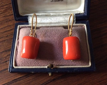 Stunning Vintage CORAL VERMEIL EARRINGS - Genuine coral - Gold sterling silver - Hand made