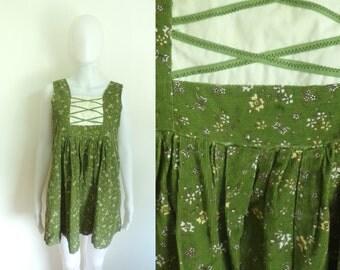 60%OFF Aug30-Sep1 70s babydoll top size small / medium, handmade, green floral, german meider, corduroy cotton, womens top, 1970s sleeveless