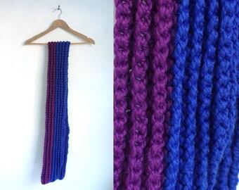 crocheted scarf, hand knit scarf, blue purple, chunky scarf, fall scarf, winter scarf, striped scarf, acrylic yarn scarf