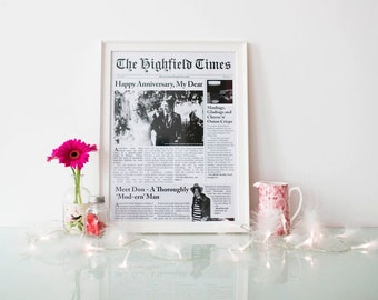 First Wedding Anniversary Gift - Or Any Occasion - 'Paper' 100% Bespoke/Personalised Unframed Newspaper Front Page Print
