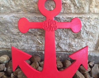 Custom Monogramed Wall Anchor (Pick a Size), (Select a Blue Color), Wall Art, Home Decor, Nursery, Trendy, Classroom, Dorm, Nautical