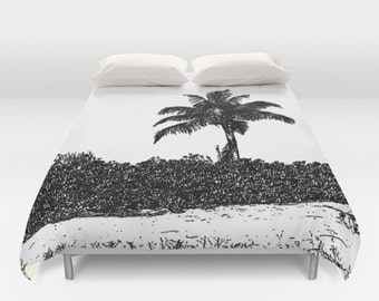 Palm Tree Black and White, Duvet Cover, Modern Bedding,Bedroom Decor,Home Accessories,Bedroom Art,Interior Design,Beach Decor, Island Living
