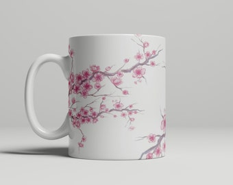 Cherry Blossom Mug, Cherry Blossoms, Flowers, Pink mug, Floral mug, Gifts for her, Gifts for him