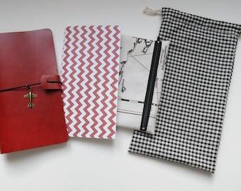 Tomato red fauxdori - Midori style traveler's notebook kit