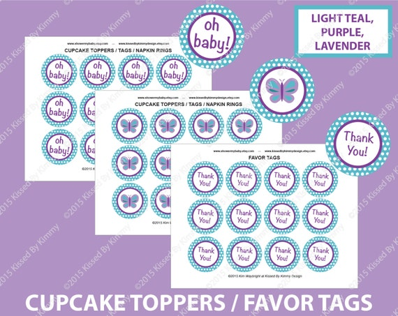 printable baby shower cupcake toppers light teal purple lavender
