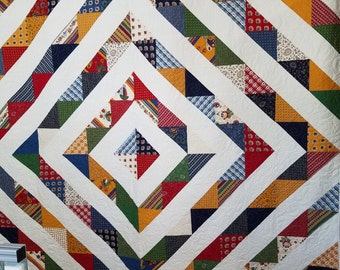 """Square Ripples Homemade Queen Size Quilt 86"""" x 102"""" with 3 matching pillow shams"""