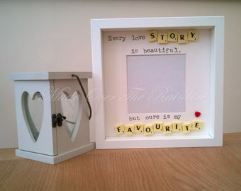 Every Love Story Is Beautiful, But ours Is My Favourite - Handmade Photo Frame. Available in Black/white Frame, Wooden/Ivory/Blue/Pink tiles