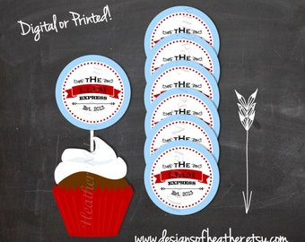 Blue and Red Vintage Express Digital Circles- Stickers, Tags, Cupcake Toppers