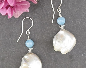 Earrings silver massive 950 with two aquamarine and two large pearls Baroque