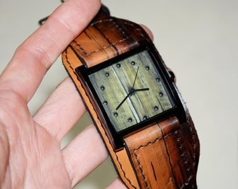 Green watch - Men watch - Women watch - Leather watch - Wrist watch - Hipster