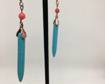 Turquoise Blue Dagger Earrings