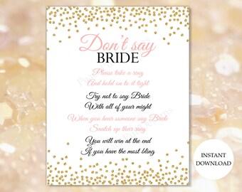 Dont say Bride (INSTANT DOWNLOAD) - Bridal shower games - Bridal shower ring game - Pink and gold Bridal shower BR001