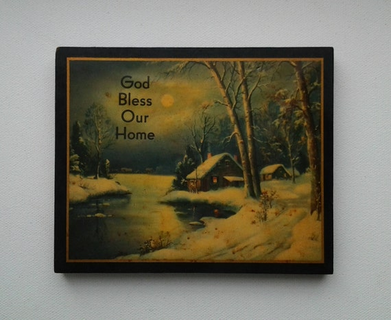 vintage god bless our home wall plaque christian wall decor. Black Bedroom Furniture Sets. Home Design Ideas
