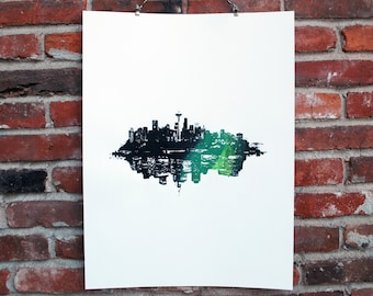 "Seattle & New York - Artistic City Skyline/Cityscape - Manhattan - Emerald City - Screen Print - RedpointPrints - Black and Green - 18"" x 24"