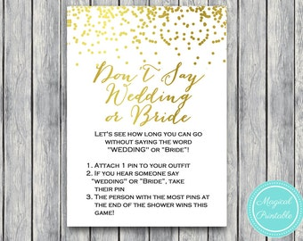 Don't say wedding or bride game, clothespin game, Gold Confetti Bridal Shower Game, Gold foil Bachelorette, Wedding Shower BS87