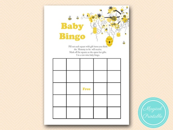 Baby Gift Bingo : Bingo baby shower gift printable cards bee theme