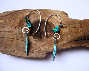 Sterling silver pixie feather earrings