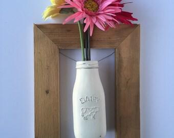 Vase, Flower Vase Sconce, Glass Jar Vase, Shabby Chic Sconce, Hanging Frame Jar, Framed Jar, Rustic Jar Sconce, Farmhouse Rustic Sconce
