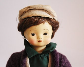 NEW PRICE Vintage doll, bisque face doll, collectible doll, boy doll