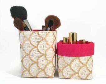 Makeup brush holder, Gold, Makeup organiser, Gold pencil holder, House warming gift, Gold brush holder, Makeup storage, Storage basket