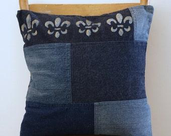"Hand painted decorative pillowcase - Handmade Denim Pillow - Throw pillow - upcycled denim - recycled jeans - Fleur de Lys - 16""x16"""