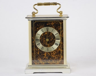 Vintage Gold Metal Clock - German Clock - Brass Desk Table Clock -  Mid Century - Quartz - Carriage Clock